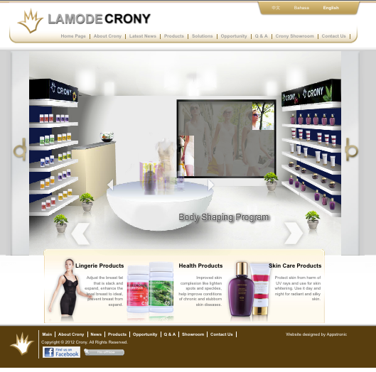 Crony Beuty | Appstronic.com | CMS, E-Commerce, Video, Multimedia Solution Provider, Puchong, Melaka Selangor Singapore Indonesia
